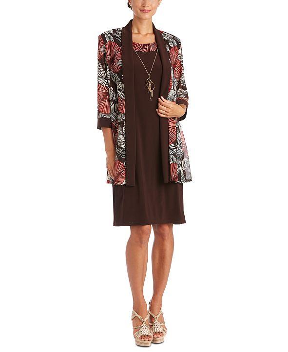 R & M Richards 2-Pc. Printed Jacket & Necklace Dress