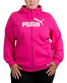 Plus Size Zip-Front Fleece Hoodie