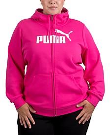 Plus Size Zip-Front Fleece Hoodie