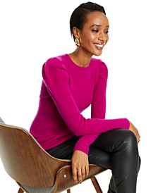 Puff-Sleeve Ribbed Cashmere Sweater, Regular and Petite Sizes, Created for Macy's