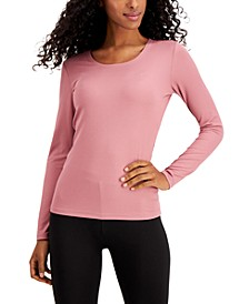 Base Layer Ribbed Scoop-Neck Top