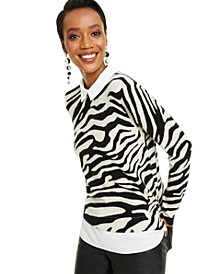 Cashmere Zebra-Print Layered-Look Sweater, Created for Macy's