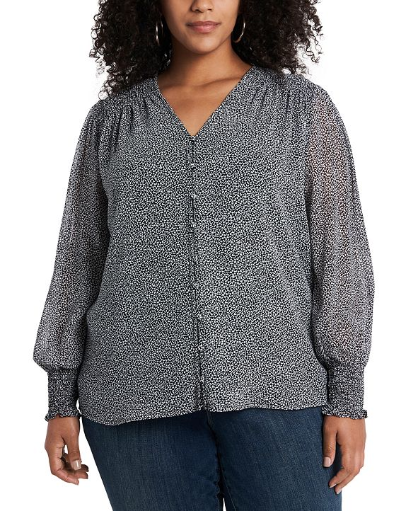 1.STATE Trendy Plus Size Smocked-Trim Blouse