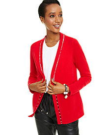 Charter Club Imitation Pearl Placket Cashmere Cardigan, Created for Macy's