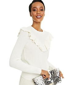 Cashmere Imitation Pearl Detail Ruffle Sweater, Created for Macy's