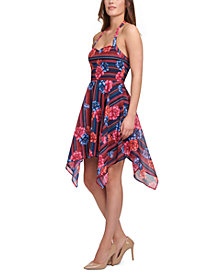 GUESS Printed Chiffon Hanky-Hem Slip Dress