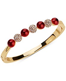 Gold-Tone Pavé Fireball & Red Imitation Pearl Bangle Bracelet, Created for Macy's