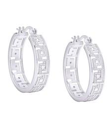 Diamond Accent Silver-plated Greek Key Hoop Earrings
