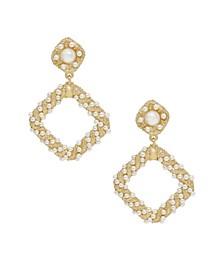 18K Gold Imitation Pearl Knocker Women's Earrings