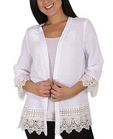 Women's Plus Size 3/4 Sleeve Crochet Cardigan