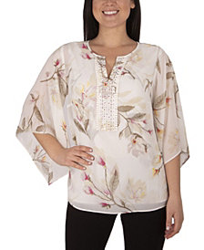 NY Collection Women's Plus Size 3/4 Bell Sleeve Blouse