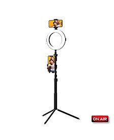 "OnAir Multi-Media Station, Dual Phone Tripod Stand With 8"" LED Ring Light and Selfie Stick Perfect for Podcasting Vlogging and YouTube"