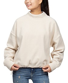 Juniors' Mock-Neck Fleece Bungee-Hem Sweatshirt