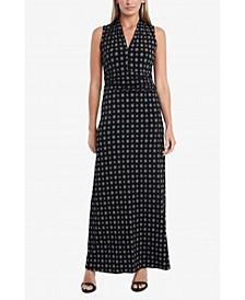 Women's Sleeveless Textured Foulard Halter Maxi Dress