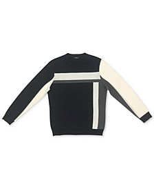 Men's Vertical Blocked Crewneck Cotton Sweater, Created for Macy's