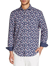 Tallia Men's Slim-Fit Stretch Floral Print Long Sleeve Shirt and a Free Face Mask With Purchase