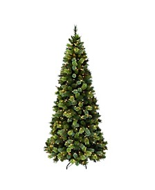"7.5"" Pre-Lit Slim Portland Pine Artificial Christmas Tree"