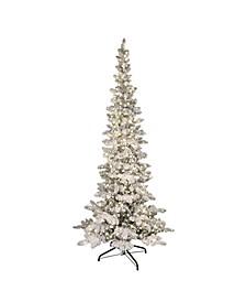 "7.5"" Pre-Lit Flocked Slim Whistler Pine Artificial Christmas Tree"