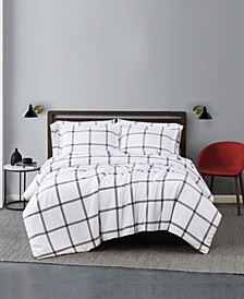 Printed Windowpane 3 Piece Duvet Cover Set, King