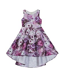 Little Girl Hi Low Dress With Cascading Bow