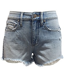 Juniors' High Rise Distressed Denim Shorts