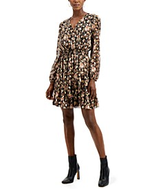 INC Printed Surplice Mini Dress, Created for Macy's