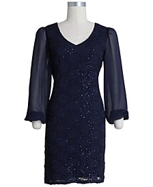Plus Size Sequinned Lace Sheath Dress