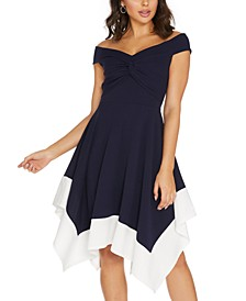 Off-The-Shoulder Contrast-Hem Dress