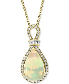 "EFFY® Opal (3-3/8 ct. t.w.) & Diamond (1/3 ct. t.w.) 18""Pendant Necklace in 14k Rose Gold"