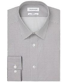 Calvin Klein Men's Steel Slim-Fit Non-Iron Performance Stretch Circle-Print Dress Shirt