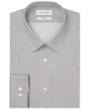 Calvin Klein Men's Steel Slim-Fit Non-Iron Performance Stretch Circle-Print Dress Shirt