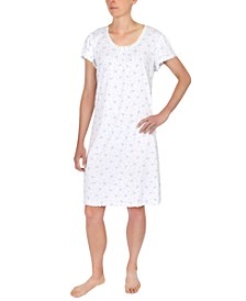 Floral-Print Cap-Sleeve Short Nightgown