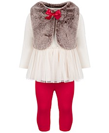 Baby Girls Fur Bow Tunic Set, Created for Macy's