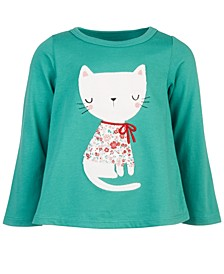 Baby Girls Long-Sleeve Holiday Cat Cotton T-Shirt, Created for Macy's