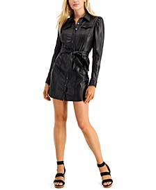 Lina Faux-Leather Shirtdress