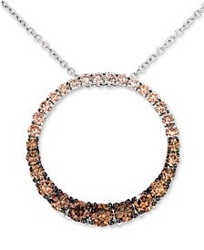 """Chocolate Diamond Ombré Circle 18"""" Adjustable Pendant Necklace (1-1/5 ct. t.w.) in 14k Rose Gold , 14k White Gold or 14k Yellow Gold"""