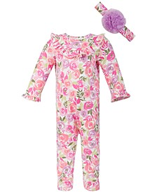 Baby Girls Watercolor Floral Coverall Set, Created for Macy's