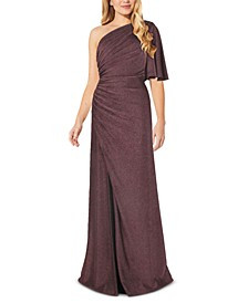 One-Shoulder Metallic Jersey Gown, Regular & Petite Sizes