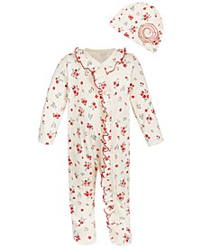 Baby Girls 2-Pc. Rose Coveralls & Hat Set, Created for Macy's
