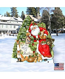 by Susan Winget Woodland Playing Santa Outdoor, Wall and Lawn Decor