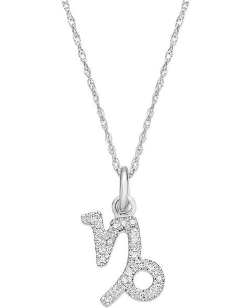 863a74c9c Macy's Diamond Capricorn Zodiac Pendant Necklace in 10k White Gold (1/10 ct.