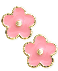 Children's 18k Gold over Sterling Silver Earrings, Enamel Flower Stud Earrings