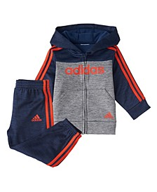 Toddler Boys Zip Front Block Fleece Hoodie Jogger Set
