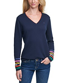 Rainbow-Cuff Cotton Sweater