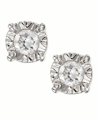 Diamond Stud Earrings in 10k Gold White Gold or Rose Gold 1 4 ct
