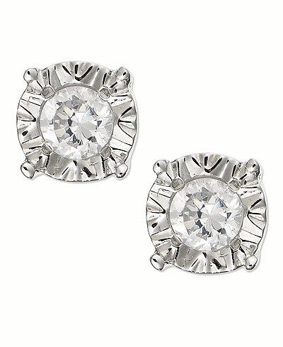 Diamond Stud Earrings In 10k Gold White Or Rose 1 4