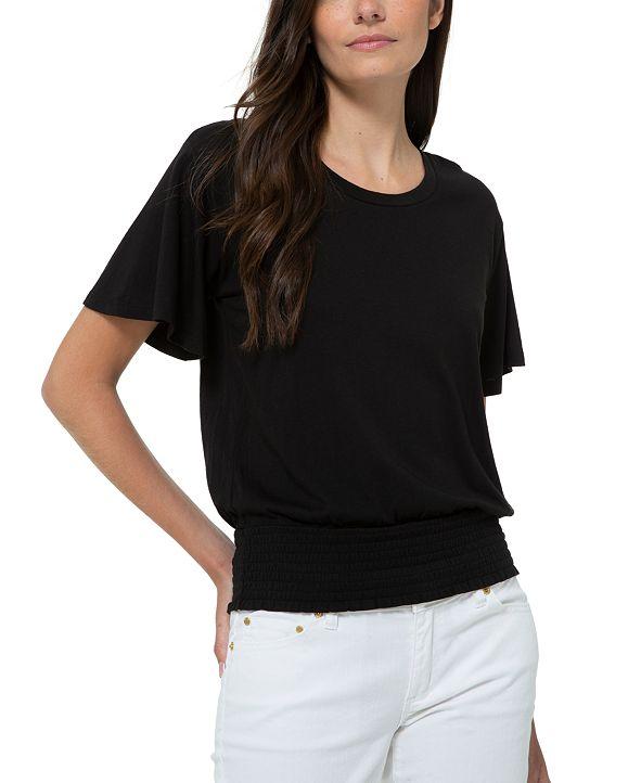 Michael Kors Plus Solid Smocked-Waist Flutter-Sleeve Top