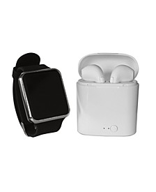 Unisex LED Touch Watch and Wireless Headphones with Portable Charging Case Set