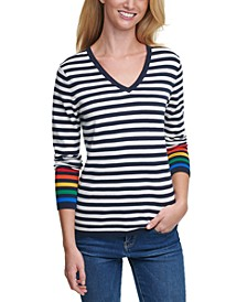 Rainbow Striped Cotton Top