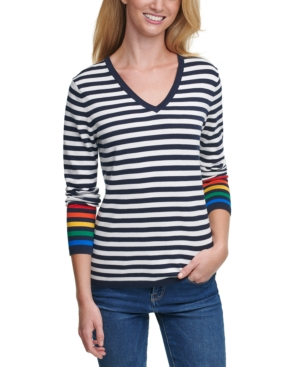 Tommy Hilfiger RAINBOW STRIPED COTTON TOP